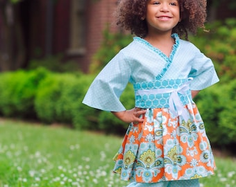Birthday Outfit for Girls - Pantaloons - Kimono Top - Obi Belt - Toddler Outfits - Little Girls Clothing - Boutique Outfit - Sizes 2T to 7