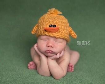 baby duck hat .. newborn photo prop .. summer hat .. newborn photography .. duckie .. boy .. girl .. removable bow .. baby hat