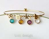 Build Your Own Birthstone Bracelet - Personalized Initial Bangle Bracelet Birthstone Bracelet Dangle Charms Mother's Day Gift Initials