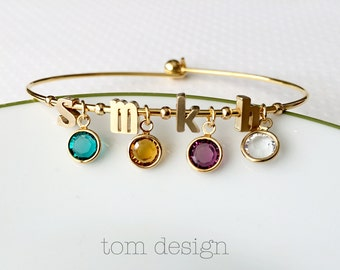 Build Your Own Birthstone Bracelet - Personalized Mother's Day Gift, Initial Bangle Bracelet, Birthstone Bracelet, Mother's Day, Birthstones