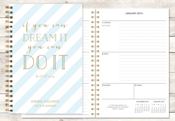 2015 planner | 2015-2016 calendar | custom weekly student planner | personalized planner agenda daytimer | blue gold stripes quote