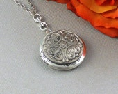 Silver Locket Necklace, Antique Locket, Lockets, Celtic Jewelry, Steampunk Jewelry, Silver Celtic Fleur de Lis