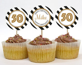 Personalised 30th 40th 50th 60th 70th Birthday Party Cupcake Toppers – 2 Inch Circles – DIY Printable – Mono Glitter (Digital File)