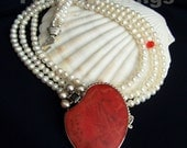 Big Bold Sexy Coral & Pearl Statement Necklace Huge OOAK Red Coral Pendant Deluxe Runway Statement Fab White Pearls FavoriteBlings Handmade