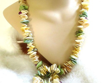 Vintage Glass Beads and Dyed Shells Necklace