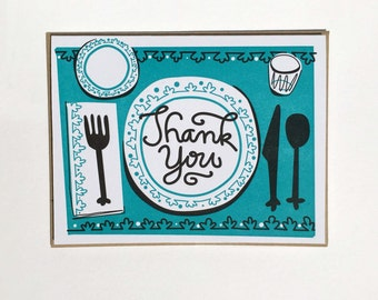 6 Pack: Thank You Hostess Table Setting Letterpress Cards