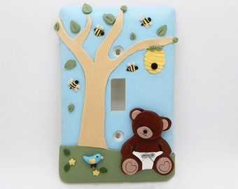 Baby Bear, Bees, Beehive Childrens Light Switch Cover or Outlet Cover - Bee Nursery Decor - Honey Bee Themed Decor - Toggle or Rocker Cover