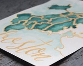 8x10 Boston Neighborhoods Map Print - Turquoise Green Watercolor and Gold Pen - Great For Typography Lovers