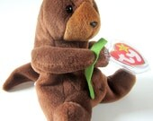 Ty Beanie Babie Retired 1995 Original Brown Plush Toy Animal Collectible Otter