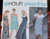 Simplicity 9415 - Easy 2 Hour Dress & Blouse - Jumper Dress, Sundress, Slip Dress, Slip, Nightgown, Lingerie - Size 10 12 14 - UNCUT