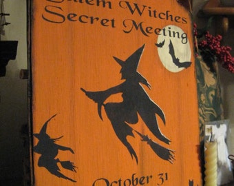 Primitive Halloween Sign Salem Witches Secret Meeting Decorative Plaque Orange/Black