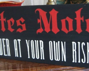 Primitive Halloween Sign BATES MOTEL Shower at Your own Risk!  Distressed Shabby Country Folk Art Red or Blue with Black Psycho