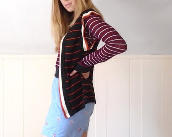 Navy Red Cream Striped Retro Open Front Sweater Cardigan Vest - 60s 70s - SMALL S M