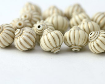 Acrylic Beads Ivory Gold Fluted Lantern 14mm Ornate Carved (12)