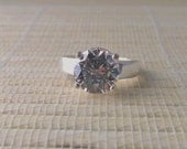 Cubic Zirconia Ring Sterling Silver April Alternative Birthstone Ready to ship size 7