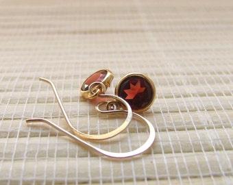Garnet Gold Fill Dangle Earrings April Birthstone 6mm