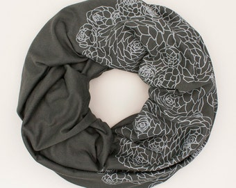 infinity scarf, charcoal gray infinity scarf, organic cotton and bamboo scarf, lightweight for summer