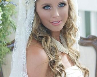 Vintage Wedding Veil, Lace Juliet Wedding Veil