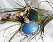SALE ~ Spanish Serenade Macrame Necklace ~ Vintage Floral Paperweight Button and Cabochon