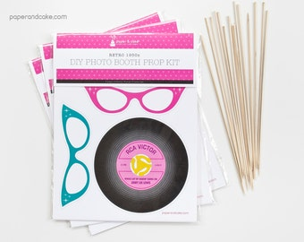 SHOP the SHELF Retro 1950s Party DIY Photo Booth Prop Kit >> shipped to you | Paper and Cake