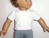 Basic White T-Shirt, 18 Inch Doll, Blank Shirt, Cotton Blouse,  Short Sleeve, American Made, Girl Doll Clothes