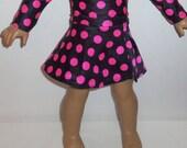 Pink Black Skirt, American Made, Girl Doll Skirt, Black Pink Polka Dots, Dancewear. Skater, 18 Inch Doll Clothes