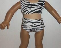 Swimsuit, Bathing Suit, 18 inch Doll, 1 pc or 2 pc, Zebra Print, Cotton Fabric, Beachwear, Bikini, American Made, Girl Doll Clothes