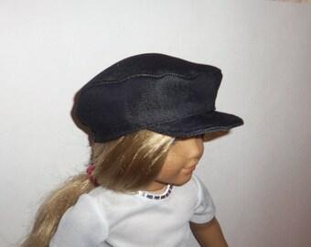 18 inch Doll Hat, Dark Denim, Biker Cap, Newsboy Hat, 15 Inch Doll,  American Made, Girl Doll Clothes, Accessories