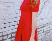 Long Sleeve Vintage Style Pleated Red Dress. 3/4 sleeve Jersey Dress. Fall, Winter, Spring Dress. Zooey Deschanel Inspired New Girl Dress