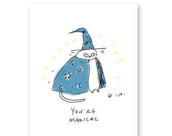 You're Magical - Funny Cat Card - Wizard Cat