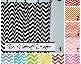 "Zig Zag Curtains, Pair of Rod Pocket Panels, Chevron Zigzag Premier Prints, 25"" or 50"" wide, Choose color and length"
