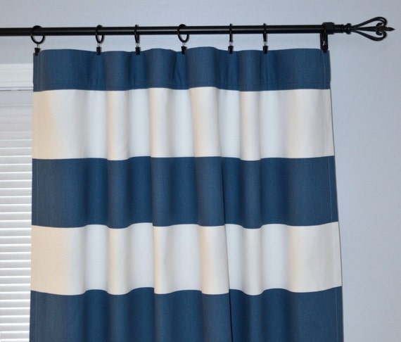Curtains Ideas curtain rod ring clips : Curtain Stripe Navy Blue White Pair of Rod Pocket Panels, Wide Navy ...