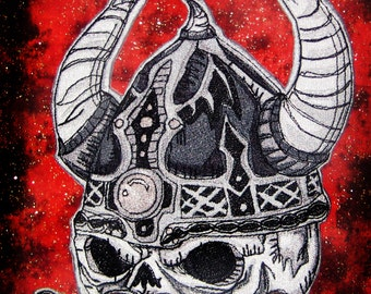 HUGE Viking Skull Iron on Patch or Sew on Patch Applique Biker Punk Patch