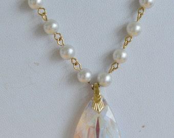 """Pretty Vintage Aurora Borealis Teardrop Crystal, Faux Pearl Necklace, 24"""" (AD17)"""