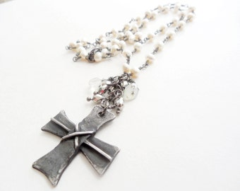 Old World Handcast Pewter Gothic Cross and Gemstone Necklace, Vintage Inspired, Pearl, Boho Fashion, Dark Patina Jewelry