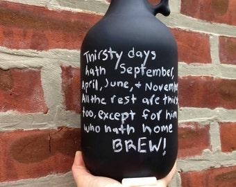 Chalkboard Beer Growler with Lid - 64 oz - Home Brewer, Beer Drinker