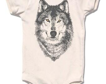 Organic WOLF onesie with gold foil eyes, infant baby bodysuit, short sleeve children shirt, golden woodland design, forest werewolf