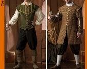 Mens Renaissance Masquerade Pattern Doublet Pants Hat Shirt Jerkin Renaissance Wedding Size Small Med Large XL Simplicity 4059