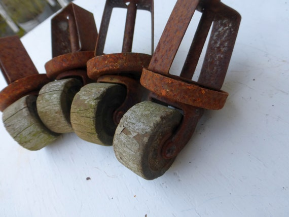 Rusty Wooden Wheel Casters  Antique Furniture Casters  1930s Bed Frame  Casters  Salvage Hardware. wood casters for furniture   Roselawnlutheran