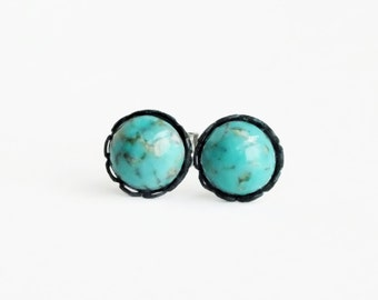 Tiny Turquoise Post Earrings Turquoise Studs Vintage Glass Turquoise Earrings Tiny Hypoallergenic Earrings Aqua Studs