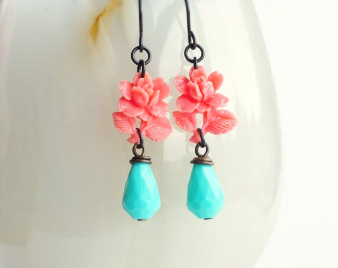 Pink Aqua Rose Earrings Vintage Carved Resin Rose Earrings Flower Dangle Earring Rose Jewelry
