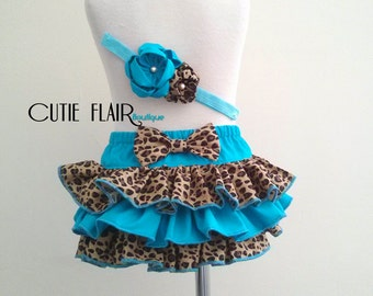 Baby Ruffle Bloomer and Matching Headband, Girl Diaper Cover, Photo Prop, Cheetah Bloomers, Girl Cake Smash, Size 12-18M Ready to ship