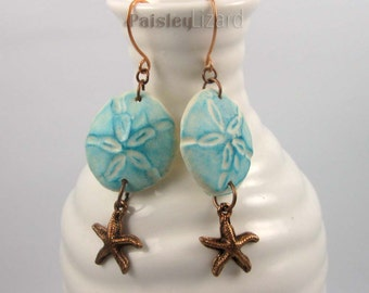 Sand dollar and starfish earrings, turquoise blue and copper dangles on copper wires, rustic beach jewelry