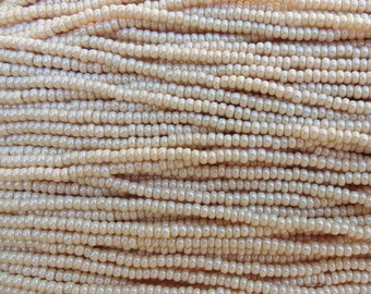 8/0 Opaque Eggshell Pearl Czech Glass Seed Bead Strand (CW74)
