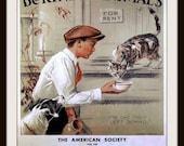 Be Kind to Animals poster print, Cat drinking milk circa 1915 - Vintage Kitchen art - Animal Lover Gift - Kitten Poster - Vet Office Art