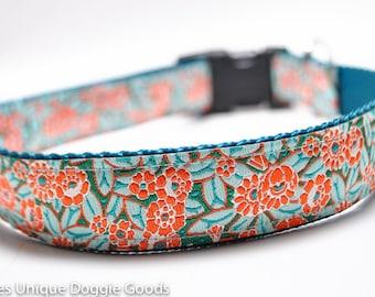 Orange Flower Dog Collar / Meadow Blooms in Orange / Teal and Orange / Buckle or Martingale