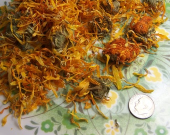 Calendula Flowers Organic herb by the ounce - bulk for bath products salves oz lb  Calendula officinalis Marigold wound healing inflammation