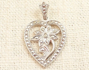 Vintage Marcasite Pave Sterling Heart and Flower Pendant