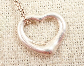 Vintage Sterling Elsa Peretti for Tiffany & Co. Open Heart Pendant Necklace