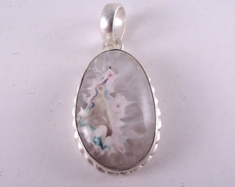 Vintage Sterling Oval Pendant with Color Treated Quartz